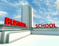 Business school d building text and blue sky Stock Image