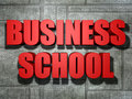 Business school red text and white background Stock Image