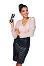 Business search concept smiling happy woman holding binoculars isolated over white Royalty Free Stock Photo