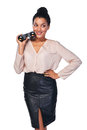 Business search concept smiling happy woman holding binoculars and looking away at blank copy space isolated over white Royalty Free Stock Photography