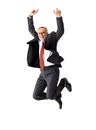 Business senior man jumping on isolated background Royalty Free Stock Photo