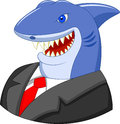 Business shark cartoon illustration of Stock Images