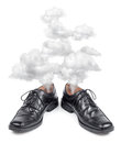 Business shoes exhausted hectic fuming hot isolated on white Stock Photos