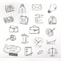 Business sketches icons set with vector Royalty Free Stock Photos