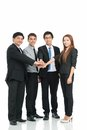 Business staff holding pile hands isolated Royalty Free Stock Image