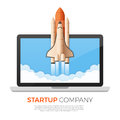 Business startup concept. Rocket or space shuttle launch.