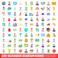 100 business startup icons set, cartoon style