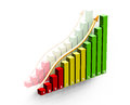Business statistics on white with gold arrow going up Stock Photo