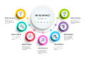 Business 7 step process chart infographics with step circles. Ci Royalty Free Stock Photo