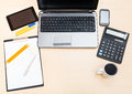 Business still life - above view of office table Royalty Free Stock Photo