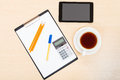 Business still life - above view of office tools Royalty Free Stock Photo