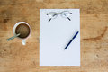 Business still life with empty sheet paper for copyspace Royalty Free Stock Photo