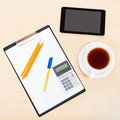 Business still life - top view of office equipment Royalty Free Stock Photo
