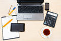 Business still life - top view of office table Royalty Free Stock Photo