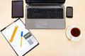 Business still life - top view of office workplace Royalty Free Stock Photo