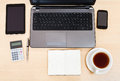 Business still life - top view of working table Royalty Free Stock Photo
