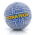 Business strategy concept d render sphere with extruded words white background Stock Photos