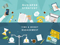 Business strategy and creative process in flat design