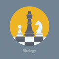 Business strategy flat illustration design modern vector concept of with chess figures on a chess board isolated in round shape on Stock Photography