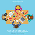 Business strategy graphic report flat top table view web concept Royalty Free Stock Photo