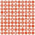 100 business strategy icons hexagon orange