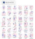 Business strategy outline icon set.
