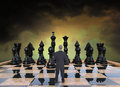 Business strategy risk sales marketing abstract concept for job success career a businessman is on a chess or chessboard Stock Image