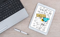 Business success concept on a digital tablet
