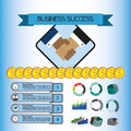 Business success infographic with icons, shaking hands, money and charts, flat design Royalty Free Stock Photo