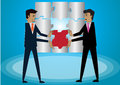 Business success, two men helped to put the puzzles. Royalty Free Stock Photo