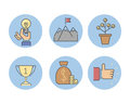 Business success vector icons set.