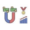Business success vector money magnet icon.