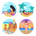 Business Summer Women Set Vector Illustration