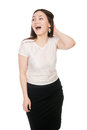 Business surprised girl with open mouth looking to the side asian in white blouse short sleeves isolated on a white Royalty Free Stock Photo