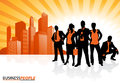 Business team against city skyline illustration of a group of male and female people in a dynamic pose depicted as silhouettes a Stock Photography