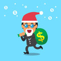 Business team and big money bag with christmas theme Royalty Free Stock Photo