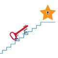 Business team carrying The Key on stair to target and success point. Stairs step to success. Royalty Free Stock Photo