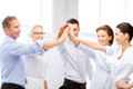 Business team celebrating victory in office picture of happy Stock Photography
