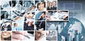 Business team collage background people technology Stock Photos