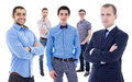 Business team concept portrait of young handsome business men isolated on white background Stock Photography