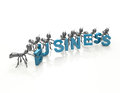 Business team d cartoon ants word concept abstract background Stock Images