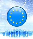 Business team with european union flag internet button original vector illustration Royalty Free Stock Images