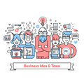 Business team gathered around leader with idea