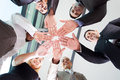Business team hands underneath view of people together Royalty Free Stock Photo