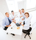 Business team having meeting in office concept friendly Royalty Free Stock Photo