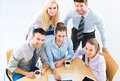 Business team high angle people meeting at table view Royalty Free Stock Image