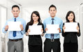 Business team holding blank paper Royalty Free Stock Photos