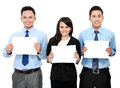 Business team holding blank paper Stock Image