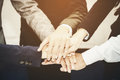 Business team joining hands togethe Royalty Free Stock Photo