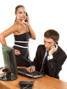 Business team pretty businesswoman holding phone Royalty Free Stock Photo